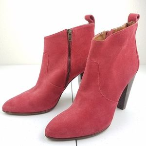 1937 MADEWELL Red Suede Ankle Heeled Booties